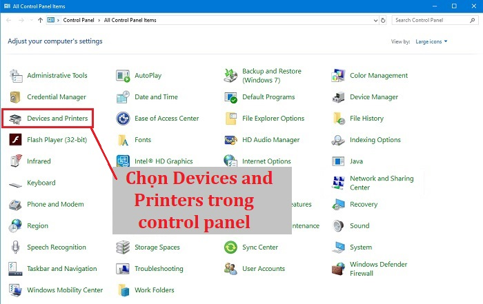 Chọn Devices and Printers trong control panel